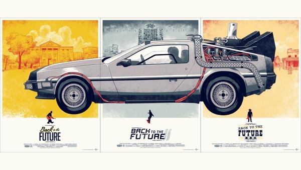 Delorean back to the future illustration