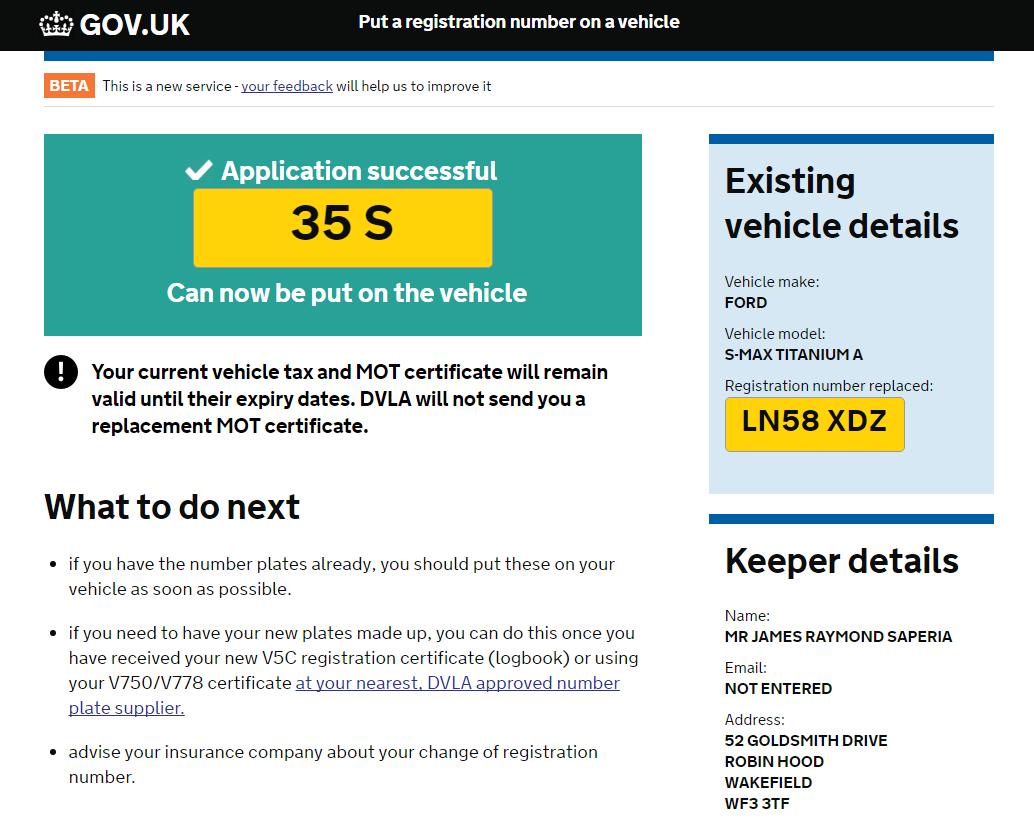 Screenshot of Gov.uk website application to assign a private plate to a vehicle